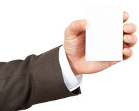 Businessman holding blank card Royalty Free Stock Photos
