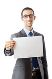 Businessman holding blank message Royalty Free Stock Photo