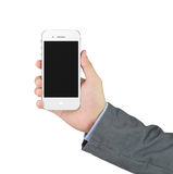 Businessman holding blank mobile phone with clipping path Royalty Free Stock Photography