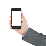 Businessman holding blank mobile phone with clipping path Stock Images