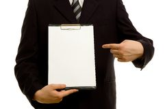Businessman holding a blank notepad Royalty Free Stock Photo