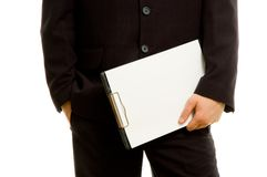 Businessman holding a blank notepad Stock Photography