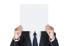 Businessman holding blank paper Stock Photo