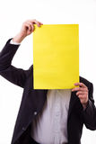 Businessman holding a blank paper Royalty Free Stock Image