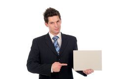 Businessman Holding Blank Sign Royalty Free Stock Images