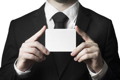 Businessman holding blank sign Royalty Free Stock Image