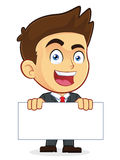 Businessman Holding a Blank Sign. Clipart Picture of a Male Businessman Cartoon Character Holding a Blank Sign Royalty Free Stock Photos