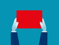 Businessman holding a blank sign. Concept business illustration. Vector flat Royalty Free Stock Photography