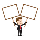 Businessman holding blank sign Stock Photos