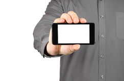 Businessman holding blank smart phone Stock Photos
