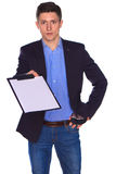 Businessman holding a blank white board Stock Photo