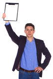 Businessman holding a blank white board Stock Images