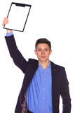Businessman holding a blank white board Royalty Free Stock Photos