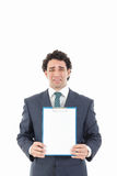 Businessman holding blank white message board with sad expressio Stock Photos