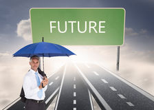 Businessman holding blue umbrella Royalty Free Stock Photography