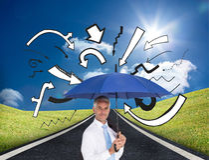 Businessman holding blue umbrella Stock Images