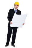 Businessman holding a blueprint Royalty Free Stock Images