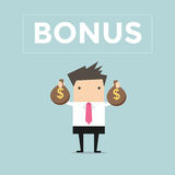 Businessman holding bonus money bags Stock Images