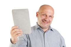 Businessman holding a book. Stock Image