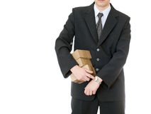 Businessman holding box on white background Royalty Free Stock Photo