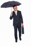 Businessman holding briefcase and standing under umbrella Stock Images