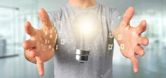 Businessman holding a bulb lamp idea concept with data all around 3d rendering. View of a Businessman holding a bulb lamp idea concept with data all around 3d stock image