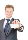 Businessman is holding a business card Stock Photo