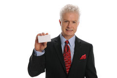 Businessman holding a business card stock photo