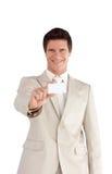 Businessman holding a business Card Stock Photos