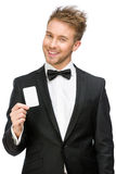 Businessman holding business card stock photo