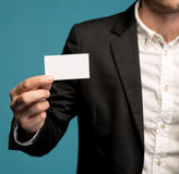 Businessman holding business card Royalty Free Stock Photo