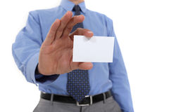 Businessman holding  business card Stock Photos