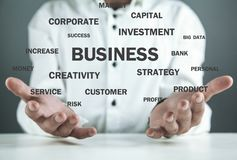 Businessman holding Business words. Business concept stock image