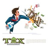 Businessman holding calculator and hitting text. `Tax`. Tax management cocept -  illustration Stock Photography