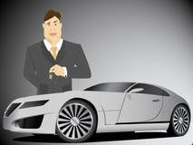 Businessman holding car keys Stock Images