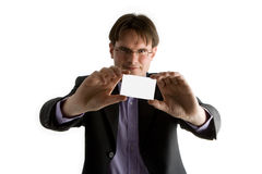 Businessman holding card Stock Photography