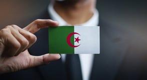 Businessman Holding Card of Algeria Flag.  stock image