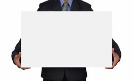 Businessman holding a card Stock Images
