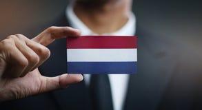 Businessman Holding Card of Netherlands Flag.  stock image