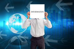Businessman holding card saying information Stock Photography