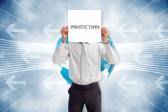Businessman holding card saying protection Royalty Free Stock Photography