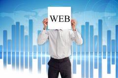 Businessman holding card saying web Stock Photography