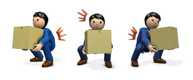 A businessman holding a cardboard box. He became a strained back. 3D illustration Stock Photography
