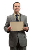 Businessman Holding Cardboard Sign Royalty Free Stock Images