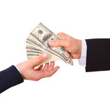 Businessman holding cash dollars in the hands Stock Photo