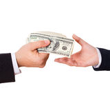 Businessman holding cash dollars in the hands Stock Photography