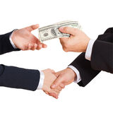Businessman holding cash dollars in the hands Royalty Free Stock Photos