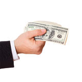 Businessman holding cash dollars in the hands Royalty Free Stock Image