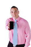 Businessman Holding a Cell Phone Royalty Free Stock Image