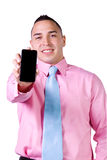 Businessman Holding a Cell Phone Royalty Free Stock Photos